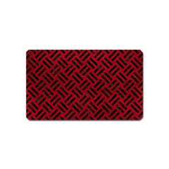 Woven2 Black Marble & Red Leather Magnet (name Card) by trendistuff