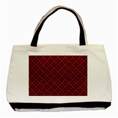 Woven2 Black Marble & Red Leather Basic Tote Bag by trendistuff