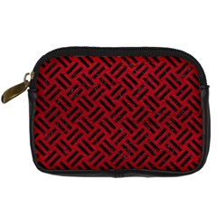 Woven2 Black Marble & Red Leather Digital Camera Cases by trendistuff