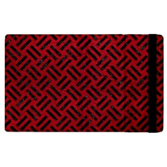 Woven2 Black Marble & Red Leather Apple Ipad 2 Flip Case by trendistuff