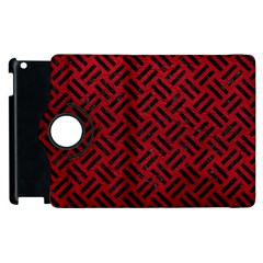 Woven2 Black Marble & Red Leather Apple Ipad 3/4 Flip 360 Case by trendistuff
