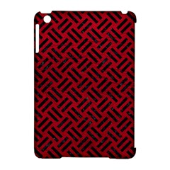 Woven2 Black Marble & Red Leather Apple Ipad Mini Hardshell Case (compatible With Smart Cover) by trendistuff