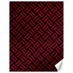 Woven2 Black Marble & Red Leather (r) Canvas 12  X 16   by trendistuff