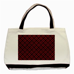 Woven2 Black Marble & Red Leather (r) Basic Tote Bag (two Sides) by trendistuff