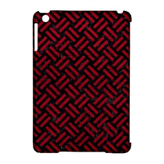 Woven2 Black Marble & Red Leather (r) Apple Ipad Mini Hardshell Case (compatible With Smart Cover) by trendistuff