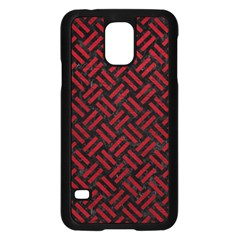 Woven2 Black Marble & Red Leather (r) Samsung Galaxy S5 Case (black) by trendistuff