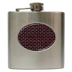 Brick1 Black Marble & Red Watercolor (r) Hip Flask (6 Oz) by trendistuff
