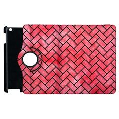 Brick2 Black Marble & Red Watercolor Apple Ipad 3/4 Flip 360 Case by trendistuff