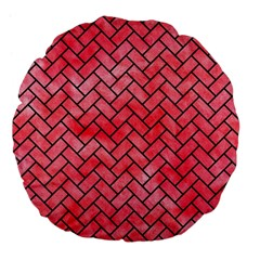 Brick2 Black Marble & Red Watercolor Large 18  Premium Flano Round Cushions by trendistuff