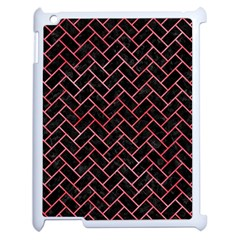 Brick2 Black Marble & Red Watercolor (r) Apple Ipad 2 Case (white) by trendistuff