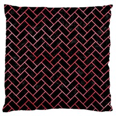 Brick2 Black Marble & Red Watercolor (r) Large Cushion Case (two Sides) by trendistuff
