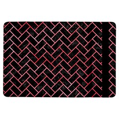 Brick2 Black Marble & Red Watercolor (r) Ipad Air Flip by trendistuff