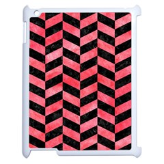 Chevron1 Black Marble & Red Watercolor Apple Ipad 2 Case (white) by trendistuff