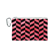 Chevron1 Black Marble & Red Watercolor Canvas Cosmetic Bag (s) by trendistuff