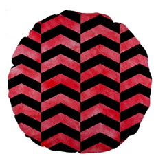 Chevron2 Black Marble & Red Watercolor Large 18  Premium Round Cushions by trendistuff