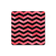 Chevron3 Black Marble & Red Watercolor Square Magnet by trendistuff