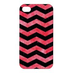 Chevron3 Black Marble & Red Watercolor Apple Iphone 4/4s Premium Hardshell Case by trendistuff