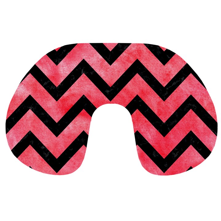 CHEVRON9 BLACK MARBLE & RED WATERCOLOR Travel Neck Pillows