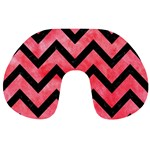 CHEVRON9 BLACK MARBLE & RED WATERCOLOR Travel Neck Pillows Back