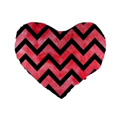 Chevron9 Black Marble & Red Watercolor Standard 16  Premium Flano Heart Shape Cushions by trendistuff