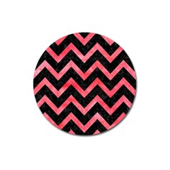 Chevron9 Black Marble & Red Watercolor (r) Magnet 3  (round) by trendistuff