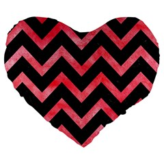 Chevron9 Black Marble & Red Watercolor (r) Large 19  Premium Flano Heart Shape Cushions by trendistuff