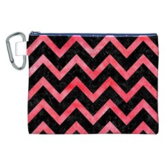 Chevron9 Black Marble & Red Watercolor (r) Canvas Cosmetic Bag (xxl) by trendistuff