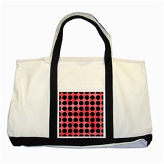 Circles1 Black Marble & Red Watercolor Two Tone Tote Bag by trendistuff