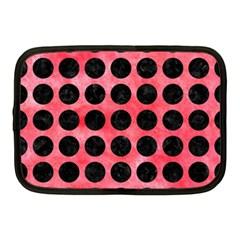 Circles1 Black Marble & Red Watercolor Netbook Case (medium)  by trendistuff