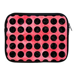 Circles1 Black Marble & Red Watercolor Apple Ipad 2/3/4 Zipper Cases