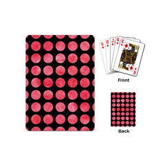 Circles1 Black Marble & Red Watercolor (r) Playing Cards (mini)  by trendistuff
