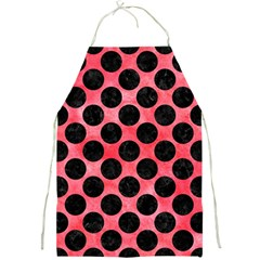 Circles2 Black Marble & Red Watercolor Full Print Aprons