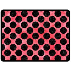 Circles2 Black Marble & Red Watercolor Fleece Blanket (large)  by trendistuff