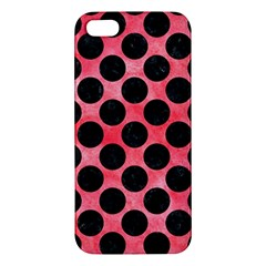 Circles2 Black Marble & Red Watercolor Apple Iphone 5 Premium Hardshell Case by trendistuff
