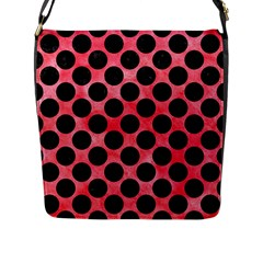 Circles2 Black Marble & Red Watercolor Flap Messenger Bag (l)  by trendistuff