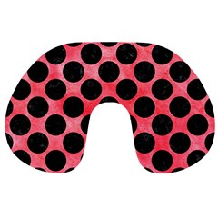 Circles2 Black Marble & Red Watercolor Travel Neck Pillows by trendistuff