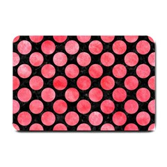 Circles2 Black Marble & Red Watercolor (r) Small Doormat  by trendistuff