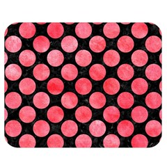 Circles2 Black Marble & Red Watercolor (r) Double Sided Flano Blanket (medium)  by trendistuff