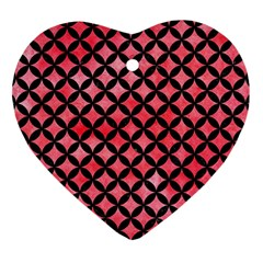 Circles3 Black Marble & Red Watercolor Heart Ornament (two Sides) by trendistuff