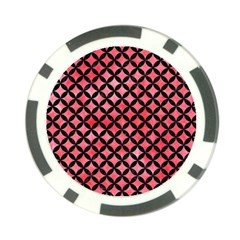 Circles3 Black Marble & Red Watercolor Poker Chip Card Guard by trendistuff