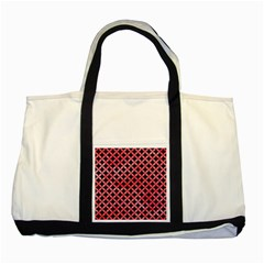 Circles3 Black Marble & Red Watercolor (r) Two Tone Tote Bag by trendistuff