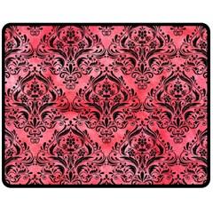 Damask1 Black Marble & Red Watercolor Fleece Blanket (medium)  by trendistuff