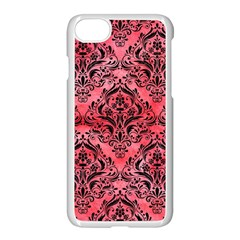 Damask1 Black Marble & Red Watercolor Apple Iphone 7 Seamless Case (white) by trendistuff