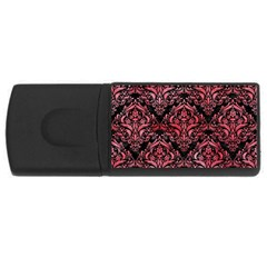 Damask1 Black Marble & Red Watercolor (r) Rectangular Usb Flash Drive by trendistuff