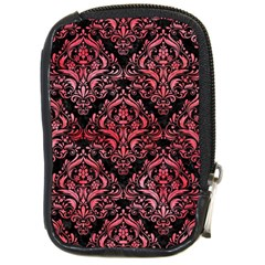 Damask1 Black Marble & Red Watercolor (r) Compact Camera Cases by trendistuff