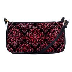 Damask1 Black Marble & Red Watercolor (r) Shoulder Clutch Bags by trendistuff