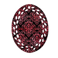 Damask1 Black Marble & Red Watercolor (r) Ornament (oval Filigree) by trendistuff