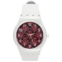 Damask1 Black Marble & Red Watercolor (r) Round Plastic Sport Watch (m) by trendistuff