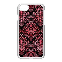 Damask1 Black Marble & Red Watercolor (r) Apple Iphone 7 Seamless Case (white) by trendistuff