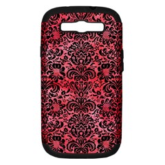 Damask2 Black Marble & Red Watercolor Samsung Galaxy S Iii Hardshell Case (pc+silicone) by trendistuff